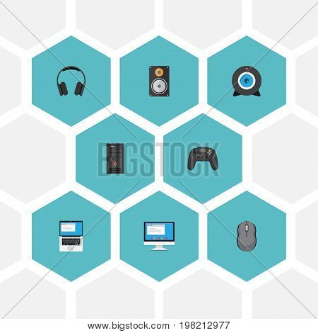 Flat Icons Laptop, Web Cam, System Unit And Other Vector Elements