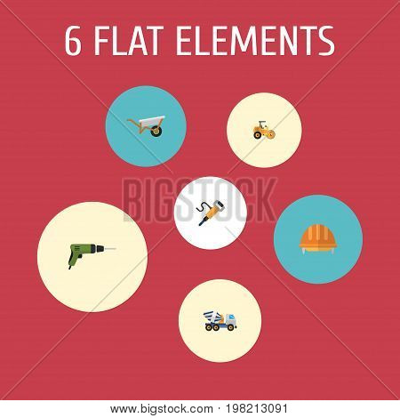 Flat Icons Hardhat, Pneumatic, Cement Blender And Other Vector Elements