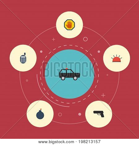 Flat Icons Armored Car, Forbidden, Gun And Other Vector Elements