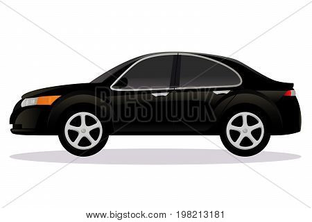 Sedan, saloon car body type vector illustration