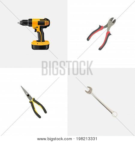 Realistic Spanner, Nippers, Forceps And Other Vector Elements