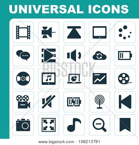 Music Icons Set. Collection Of Magnifying, Eject, Chart And Other Elements