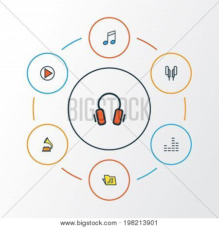 Audio Colorful Outline Icons Set. Collection Of Earphones, Gramophone, Template And Other Elements