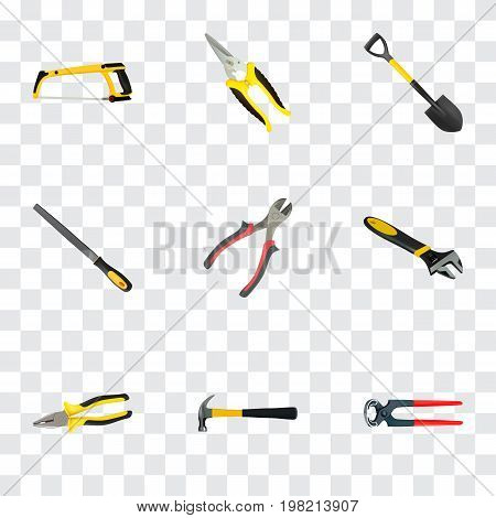 Realistic Wrench, Scissors, Arm-Saw And Other Vector Elements