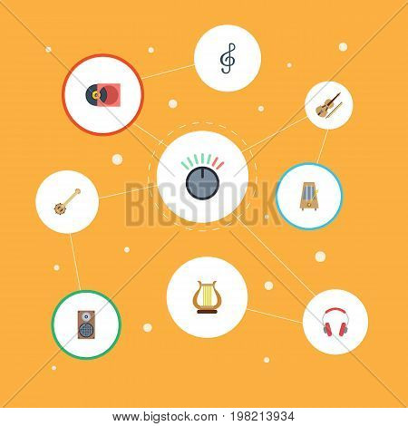 Flat Icons Lyre, Quaver, Knob And Other Vector Elements
