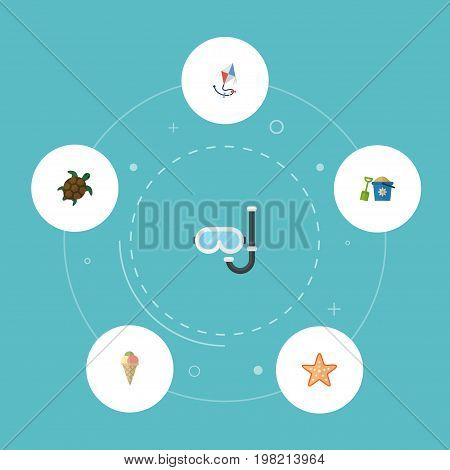 Flat Icons Tortoise, Shovel, Fly And Other Vector Elements