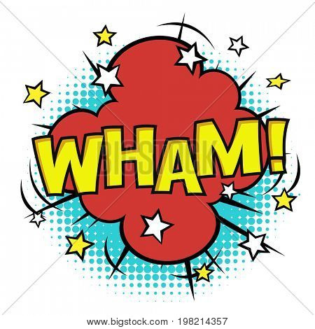 WHAM! phrase in speech bubble. Comic sound.  Raster bubble icon speech phrase. Comics book balloon. Halftone background.