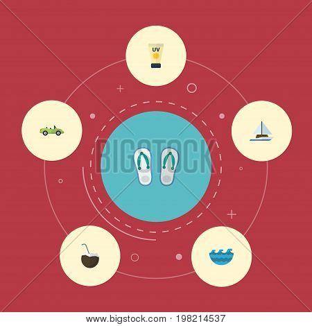 Flat Icons Cocos, Anti-Sun Cream, Sea And Other Vector Elements
