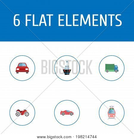 Flat Icons Luxury Auto, Boat, Streetcar And Other Vector Elements