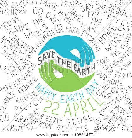 Earth Day Poster. Hands shaped looks like Earth planet.