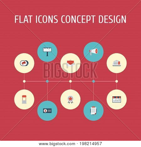 Flat Icons Monitoring, Award, Message And Other Vector Elements