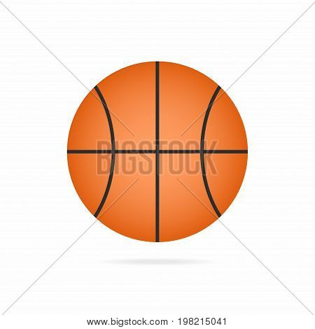 Basketball Ball Icon With Shadow Isolated On White Background
