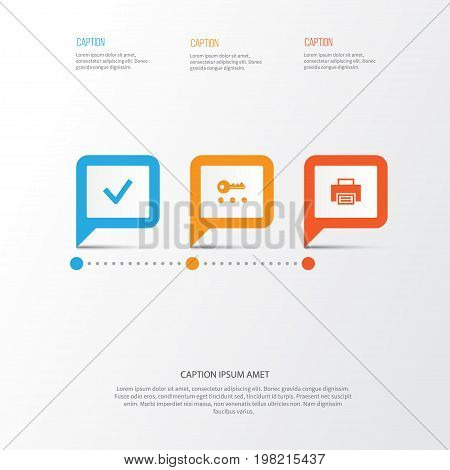 User Icons Set. Collection Of Printer, Done, Key And Other Elements