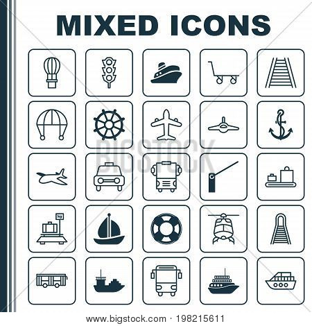 Transport Icons Set. Collection Of Boat Helm, Tanker, Roadblock And Other Elements