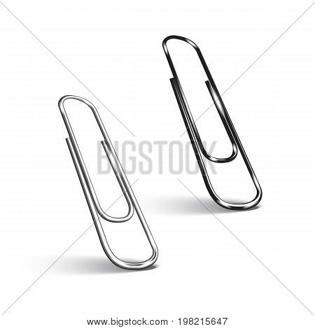 Two paper clips on white background. Vector illustration eps 10.