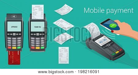 Vector payment machine and credit card. POS terminal confirms the payment by debit credit card, invoce. Vector illustration in flat design. NFC payments concept. Isometric NFC payments concept.
