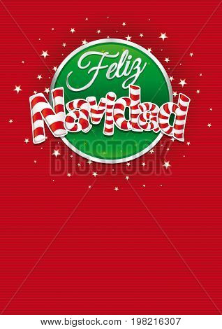 Feliz Navidad - Merry Christmas in Spanish language - Red cover of greeting card with lines texture in background. Layout size: 21 cm x 29.7 cm. A4 size. Lettering design.