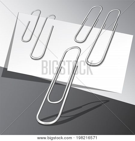 Five paper clips and paper sheets on gray background. Vector illustration eps 10.