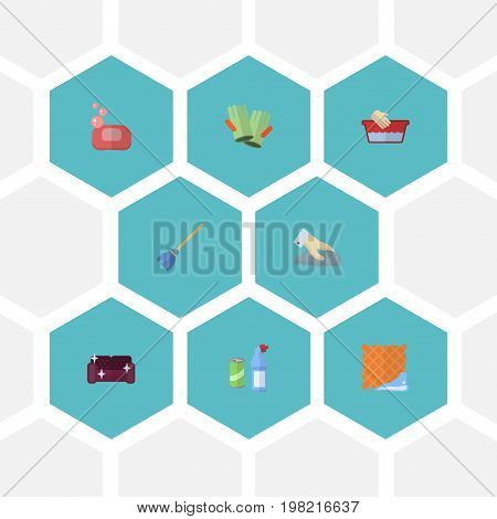 Flat Icons Towel, Means For Cleaning, Besom And Other Vector Elements