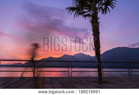 Beautiful Sunset At Iseo Lake, Lombardy, Italy