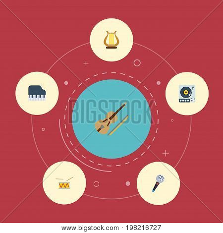 Flat Icons Octave Keyboard, Karaoke, Turntable And Other Vector Elements