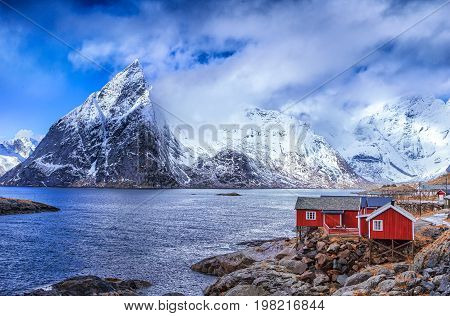 Traditional Norwegian Village Hamnoy at Lofoten Island in Norway.Horizontal Image Composition