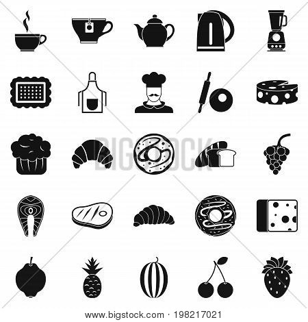 Edible icons set. Simple set of 25 edible vector icons for web isolated on white background