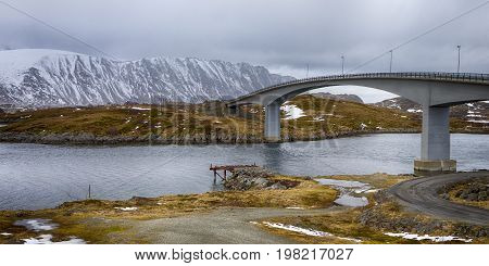 Travel Destinations and Sightseeings. Partial View of the Famous and Renowned Fredvang Bridge in Norway at Lofoten Islands. Horizontal Image Orientation