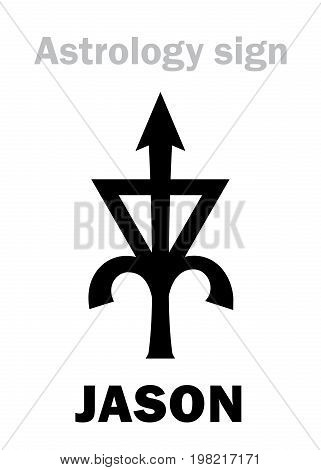 Astrology Alphabet: JASON, asteroid #6063. Hieroglyphics character sign (single symbol).