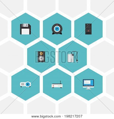 Flat Icons Display, Presentation, Diskette And Other Vector Elements