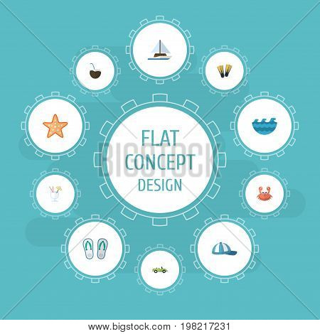 Flat Icons Sailboard, Drink, Hat And Other Vector Elements