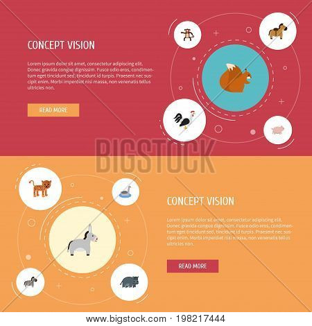 Flat Icons Panther, Waterbird, Swine And Other Vector Elements