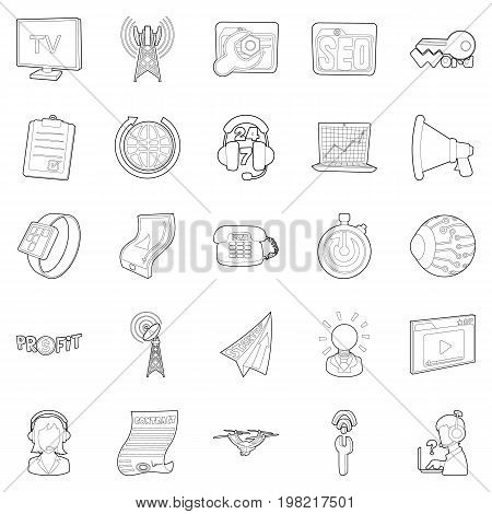 Field of activity icons set. Outline set of 25 field of activity vector icons for web isolated on white background