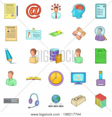 Order icons set. Cartoon set of 25 order vector icons for web isolated on white background