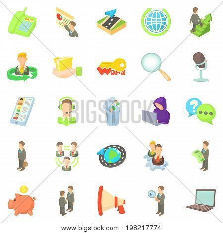 Bank officer icons set. Cartoon set of 25 bank officer vector icons for web isolated on white background