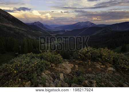 Beautiful sunset on top of a mountain at sunset in Crested Butte Colorado