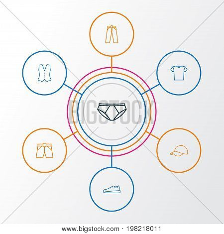Clothes Outline Icons Set. Collection Of Waistcoat, Pants, Briefs And Other Elements