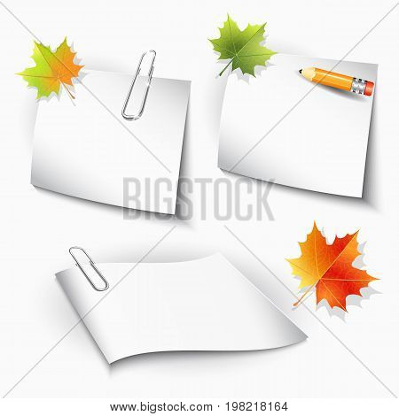 Paper clips paper sheets pencil and maple autumn leaves on white background. Vector illustration eps 10.