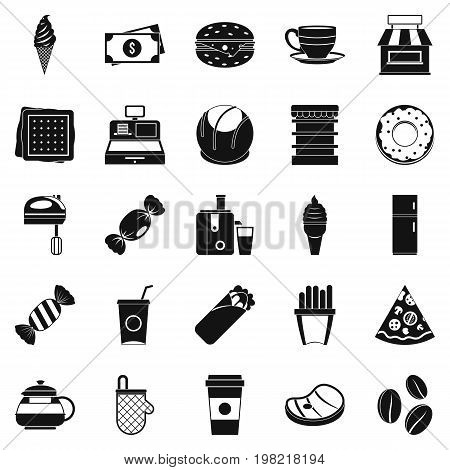 Dining room icons set. Simple set of 25 dining room vector icons for web isolated on white background