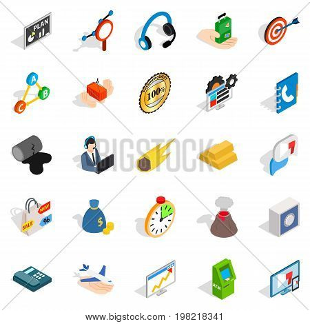 Conference icons set. Isometric set of 25 conference vector icons for web isolated on white background