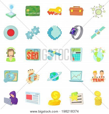 Telecommunications icons set. Cartoon set of 25 telecommunications vector icons for web isolated on white background
