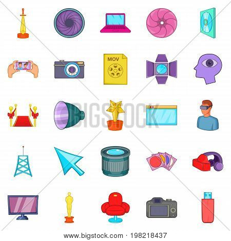 Camera for movies icons set. Cartoon set of 25 camera for movies vector icons for web isolated on white background