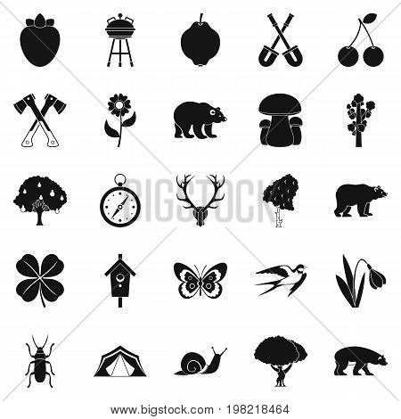 Trekking in the wild icons set. Simple set of 25 trekking in the wild vector icons for web isolated on white background