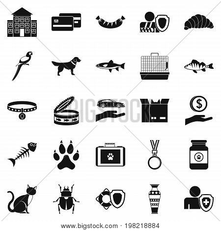 Kitten icons set. Simple set of 25 kitten vector icons for web isolated on white background