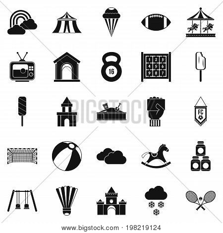 Children walk icons set. Simple set of 25 children walk vector icons for web isolated on white background