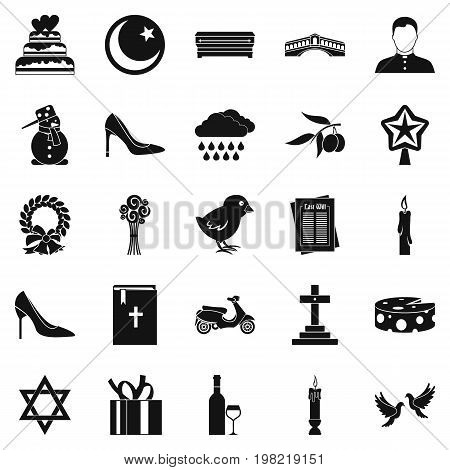 Divine service icons set. Simple set of 25 divine service vector icons for web isolated on white background