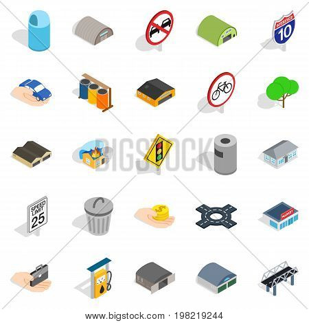 Urban buildings icons set. Isometric set of 25 urban buildings vector icons for web isolated on white background