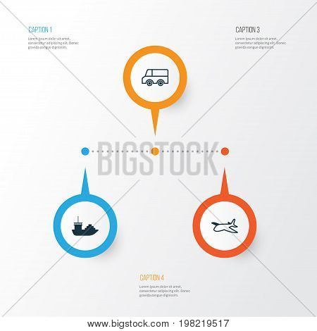 Delivery Icons Set. Collection Of Tanker, Plane, Lorry And Other Elements