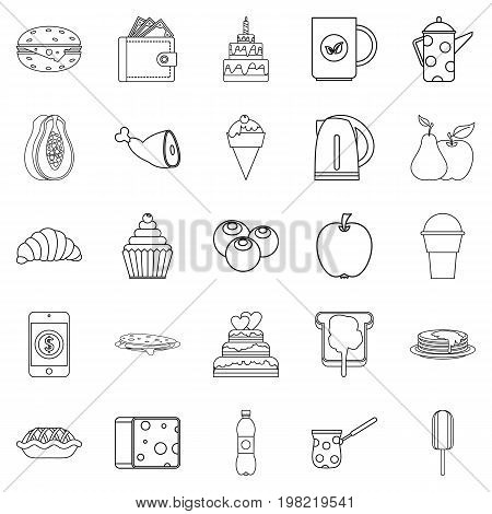 Street coffee house icons set. Outline set of 25 street coffee house vector icons for web isolated on white background
