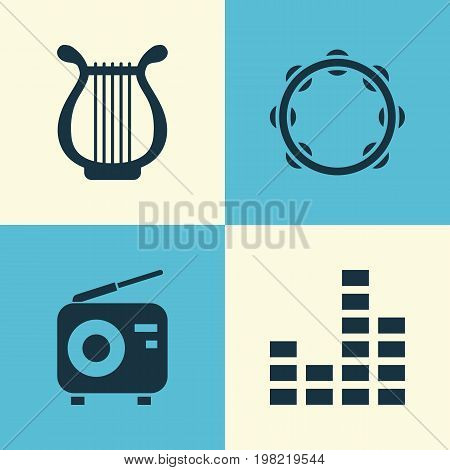 Audio Icons Set. Collection Of Tuner, Timbrel, Equalizer And Other Elements